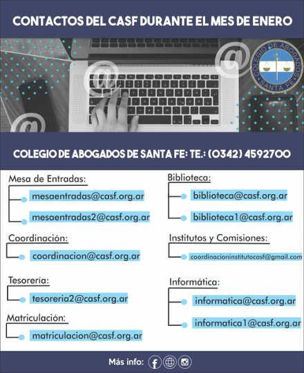CASF: datos de contacto en Enero
